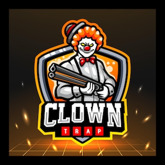 Design del logo esport della mascotte del clown killer