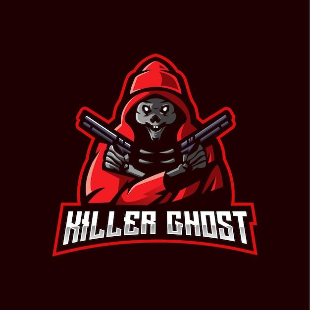 Logo della mascotte e-sport di killer ghost. fantasma che trasporta una pistola