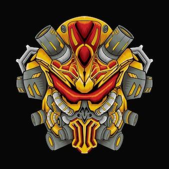 Illustrazione della mascotte del robot killer mecha
