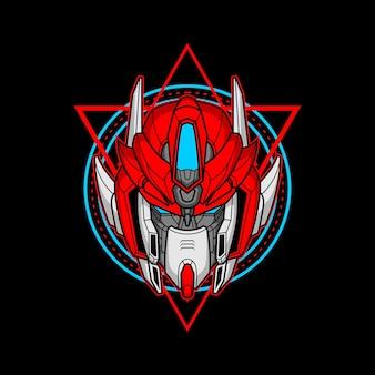 Testa di robot assassino con geometria sacra 11