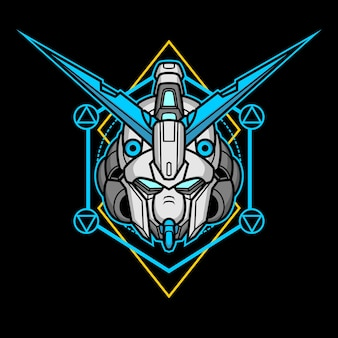 Testa di robot assassino con geometria sacra 15