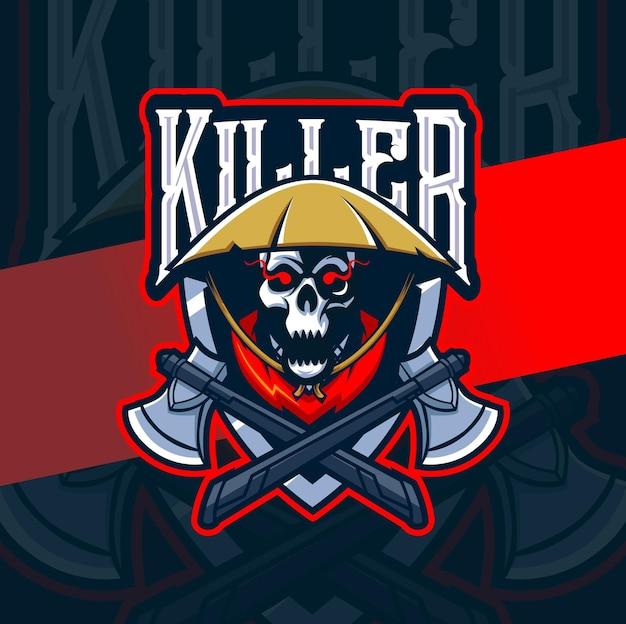 Logo esport della mascotte del mietitore di teschio killer per giochi e tatuaggi artistici