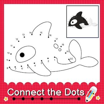 Il puzzle per bambini killer whale collega il foglio di lavoro dei punti per i bambini che contano i numeri da 1 a 20