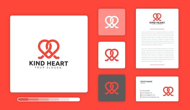 Modello di progettazione di logo di cuore gentile