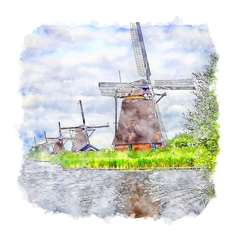 Illustrazione disegnata a mano di schizzo dell'acquerello di kinderdijk paesi bassi