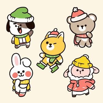 Doodle del personaggio della stagione invernale degli amici degli animali dell'asilo