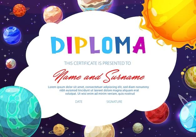 Certificato di scuola materna con pianeti del sistema solare dei cartoni animati nel cielo scuro con stelle
