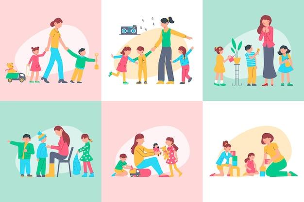 Concetto di design di scuola materna con set di illustrazione quadrata
