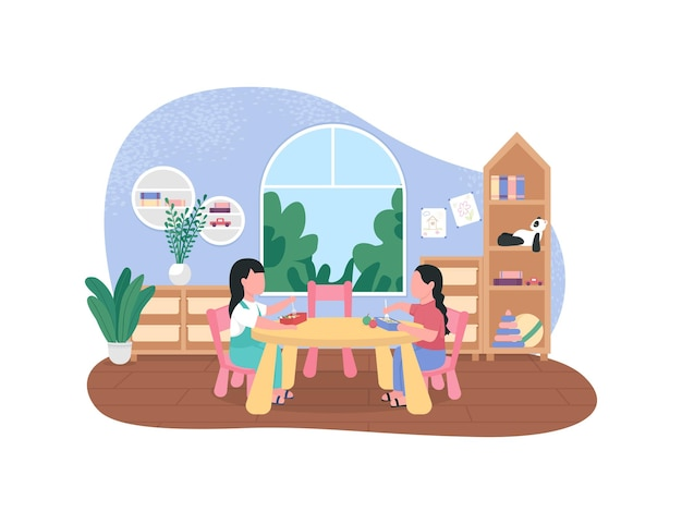 Illustrazione del manifesto di pausa cena di scuola materna