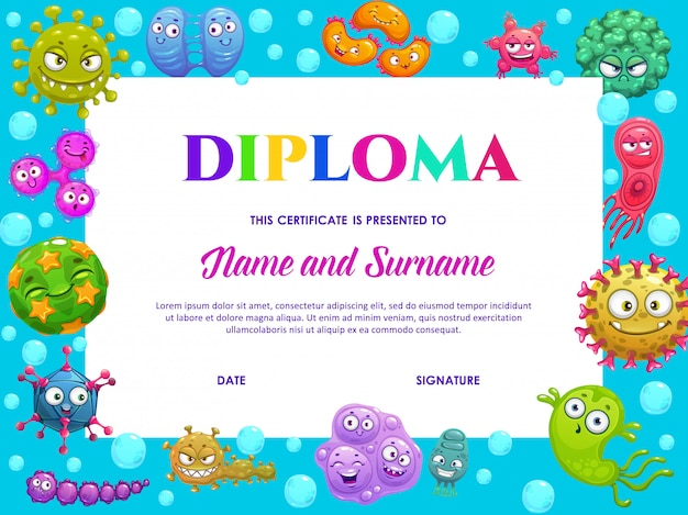 Diploma di scuola materna con simpatici batteri, germi Vettore Premium