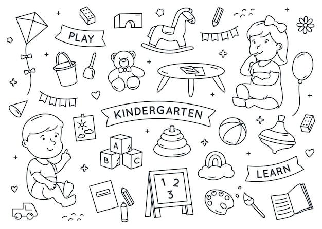 Insieme di elementi di doodle di asilo
