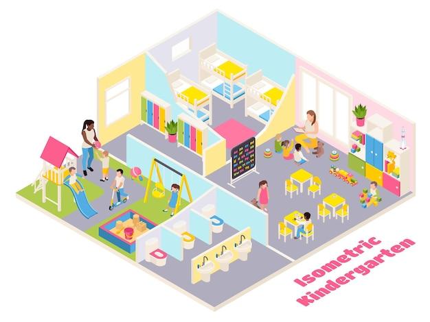 Composizione isometrica dell'asilo con testo e vista interna di stanze diverse con mobili, giocattoli e bambini