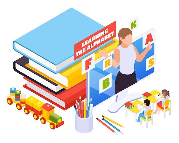 Illustrazione isometrica online di apprendimento della scuola materna
