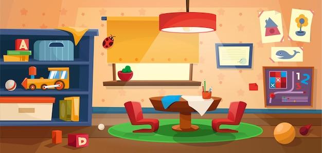Interiore della stanza dei giochi dell'asilo con tavolo e finestra