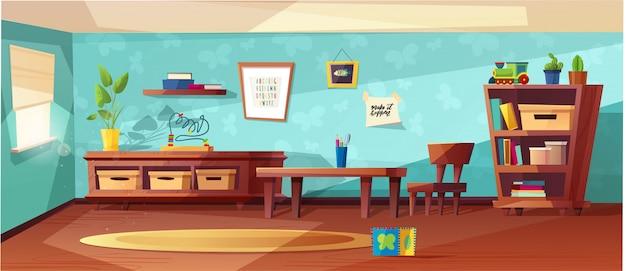Illustrazione moderna della stanza di asilo con mobilia, luce solare dalla finestra e giocattoli per i bambini. nursery per bambini, bambini piccoli. design in stile piatto. prescolare.