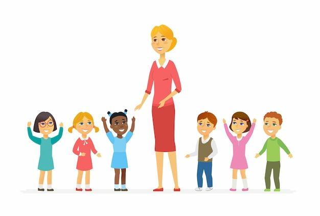 Insegnante d'asilo con bambini - personaggi dei cartoni animati illustrazione isolato su priorità bassa bianca. giovane donna sorridente in piedi con bambini internazionali felici. immagine colorata per una presentazione