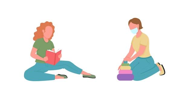 Set di caratteri senza volto di colore piatto di insegnanti di scuola materna Vettore Premium