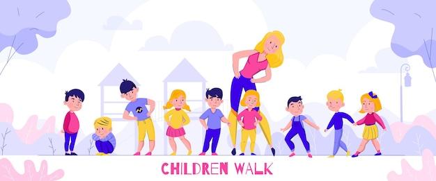 Composizione a piedi nella scuola materna con testo e caratteri piatti di bambini con maestra d'asilo in uno scenario all'aperto