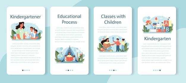 Set di banner per applicazioni mobili kindergartener