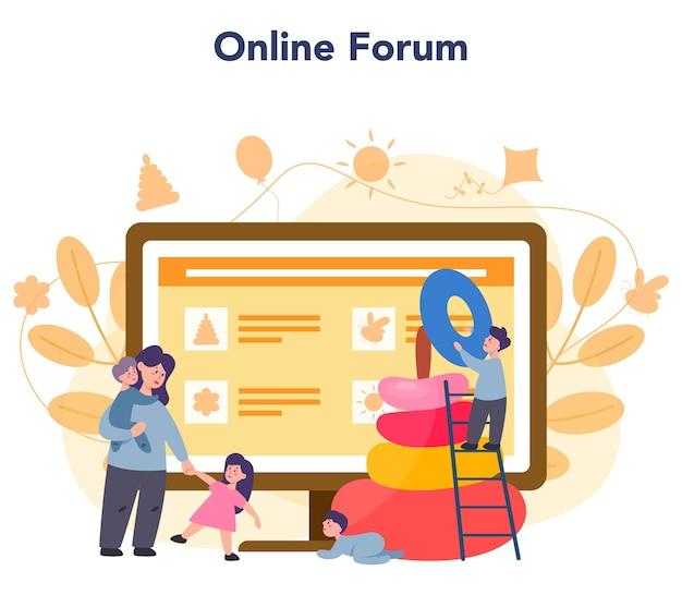 Servizio online di asilo nido o illustrazione della piattaforma