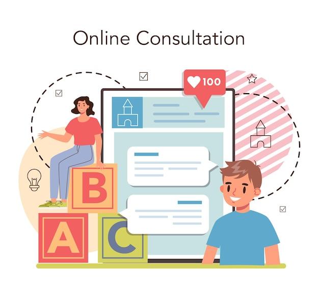 Servizio o piattaforma online kindergartener. consultazione in linea. illustrazione vettoriale