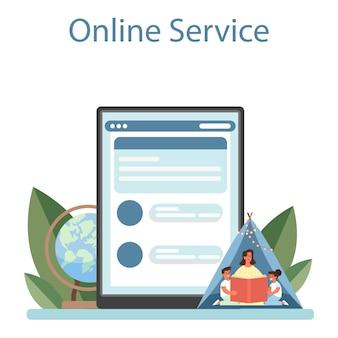Servizio o piattaforma online kindergartener. tata professionale e bambini. centro diurno, educazione prescolare. illustrazione piatta vettoriale