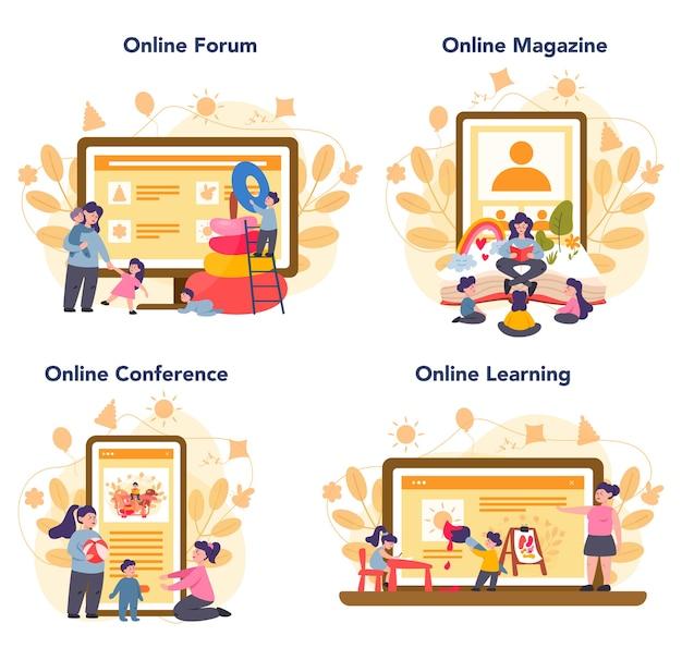 Servizio online di asilo nido o set di piattaforme