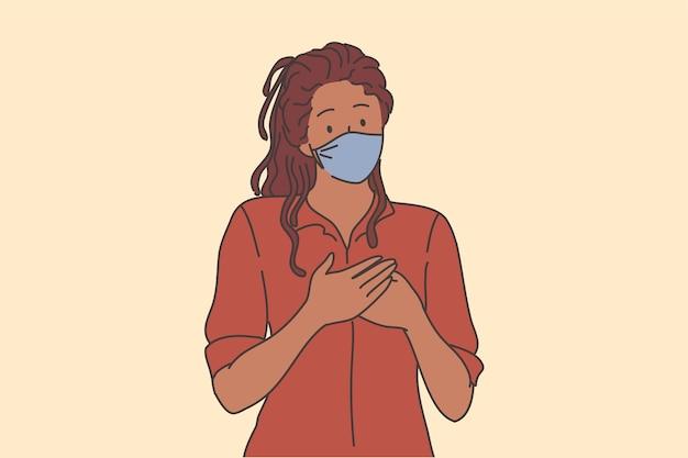Gentilezza e supporto durante il concetto di epidemia di covid-19.