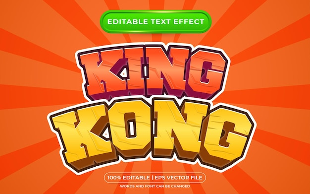 King 3d effetto testo modificabile in stile cartone animato