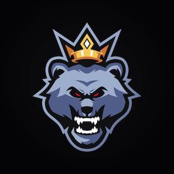 Modelli di logo di king bear esports