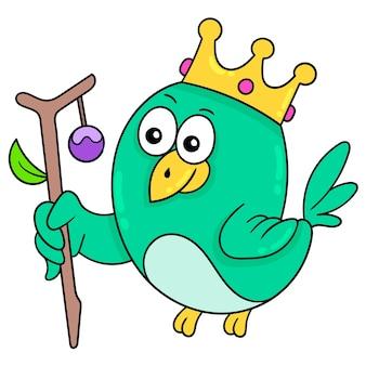 Il re degli uccelli è verde con una corona d'oro, illustrazione vettoriale. scarabocchiare icona immagine kawaii.