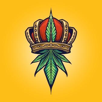 Re cannabis logo negozio di erbaccia e illustrazioni dell'azienda
