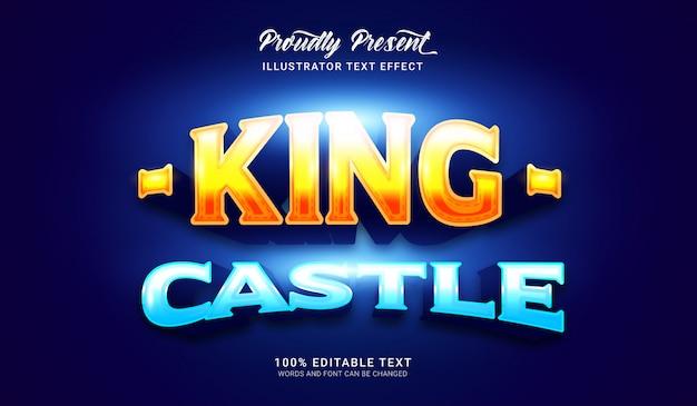 Effetto di stile del testo del castello del re. effetto di testo modificabile
