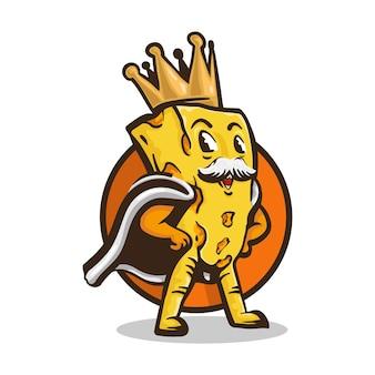 Logo del personaggio di re formaggio, illustrazione della mascotte