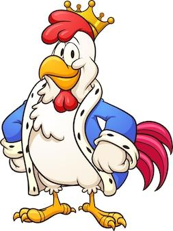 Personaggio dei cartoni animati di pollo re che sembra orgoglioso