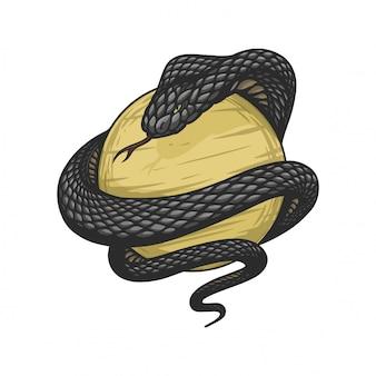 King cobra è avvolto attorno a una palla d'oro in stile vintage disegnato a mano