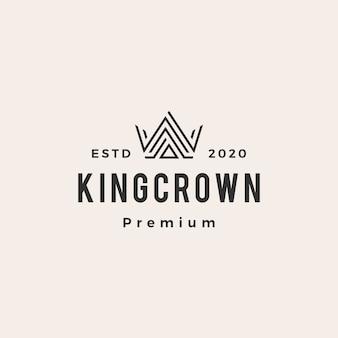 Illustrazione dell'icona di logo vintage di re corona hipster