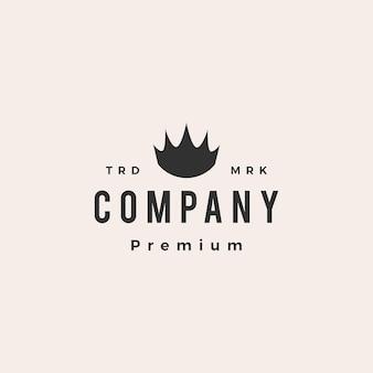 Modello di logo vintage hipster corona re