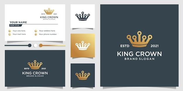 Modello di logo della corona del re con uno stile dorato unico e design del biglietto da visita