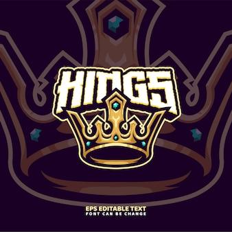 Modello di logo della mascotte della corona del re