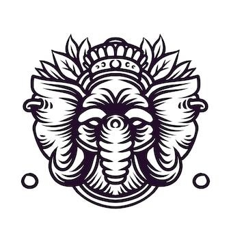 Illustrazione di arte linea re elefante