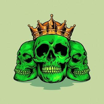 Illustrazioni king family skull green
