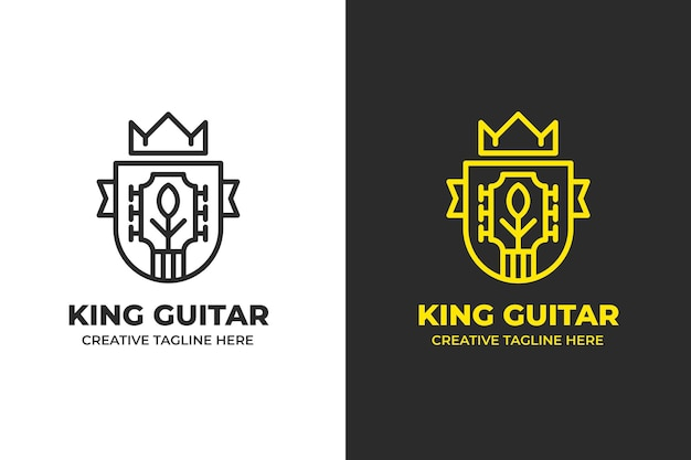 King guitar music instrument monoline logo