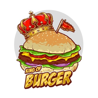 King hamburger per il logo del ristorante o del cibo spazzatura di strada