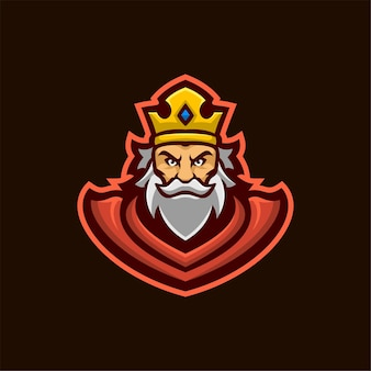 Illustrazione del modello di logo del fumetto della testa del re. logo esport gioco vettore premium