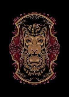 Re leone illustrazione ornamento vettore testa re leone vettore per abbigliamento t-shirt design