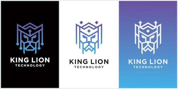 Disegno del modello di logo della testa di re leone