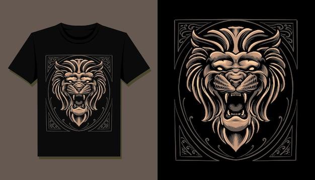 Design della maglietta con testa di leone re