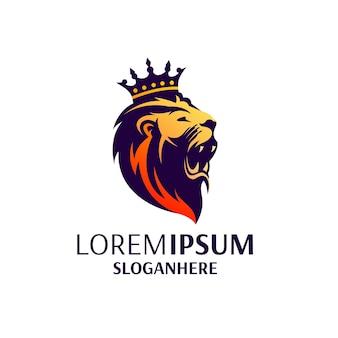 Re leone logo desing isolato su bianco
