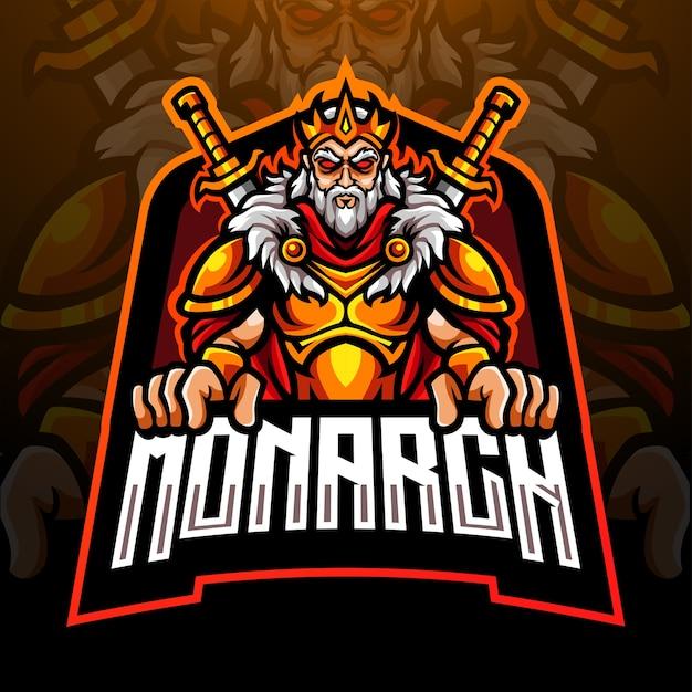 Disegno del logo esport della mascotte del re